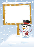 小的逗人喜爱的雪人和圣诞节标志板 免版税图库摄影