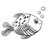 小的逗人喜爱的鱼乱画 库存图片