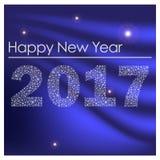从小的雪花eps10的蓝色发光的新年好2017年 免版税库存图片