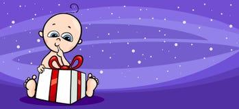 小的婴孩圣诞老人贺卡动画片 库存照片