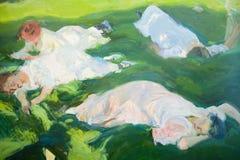 小睡的妇女绘画由Joaquï ¿ ½ n Sorolla如在Sorolla博物馆,马德里,西班牙中看到的y巴斯蒂达的(1863-1923) 库存图片