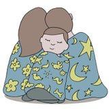 小睡的家庭 向量例证