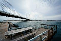 小码头和印地安河桥梁,在Bethany海滩附近, Dela 库存照片