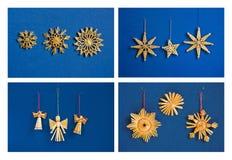 小秸杆圣诞节装饰的四张图片在蓝色墙壁背景的 花、雪花、星和天使 图库摄影