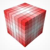 小立方体做在大立方体形状的颜色梯度  3d样式传染媒介例证 库存照片