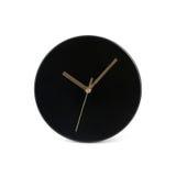 黑小简单的圆的壁钟-在白色背景隔绝的手表 图库摄影