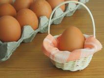 小篮子的鸡蛋 免版税库存照片