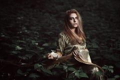 小精灵似的女孩在不可思议的森林里 库存图片