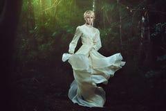 小精灵似的妇女跳舞在神仙的森林里 免版税库存照片