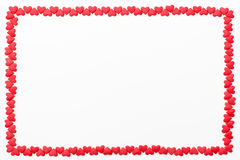 小红色心脏框架在白色背景的 欢乐背景为华伦泰` s天,生日,婚礼,假日,明信片,同水准 库存图片