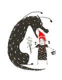 小红骑兜帽和黑可怕狼 免版税库存照片