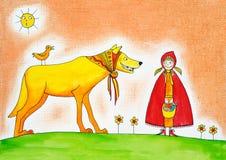小红骑兜帽,儿童的图画,水彩绘画 免版税库存照片