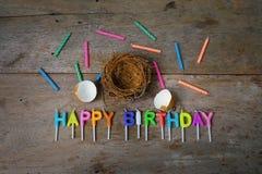 小组一个生日快乐概念的蜡烛 免版税图库摄影