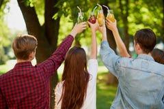 小组与戒毒所汁液鸡尾酒的欢呼 免版税图库摄影