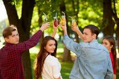 小组与戒毒所汁液鸡尾酒的欢呼 免版税库存图片