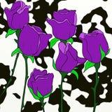 小组与黑泼溅物的紫色花 库存例证