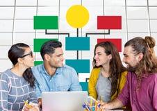 小组会议和五颜六色的心智图在明亮的窗口背景 免版税库存图片