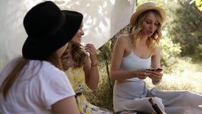 小组使野餐的女朋友室外 他们坐,微笑和playng打牌 妇女的聚会概念 夏天 股票录像