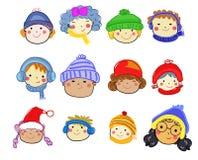 小组儿童面孔集合,画的剪影 库存照片