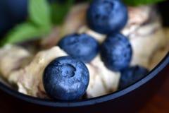 小组在冰淇淋的蓝莓在黑暗的碗特写镜头 库存图片
