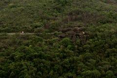 小组在森林中间的岩石 库存图片