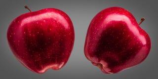小组在灰色背景的美味红色苹果 免版税图库摄影