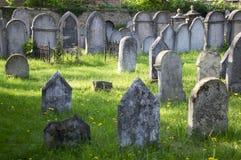 小组在绿草在阳光下, Hermanuv mestec的小犹太公墓的保存良好的犹太坟墓在捷克共和国 图库摄影