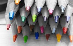 小组在黑白的颜色铅笔 免版税图库摄影
