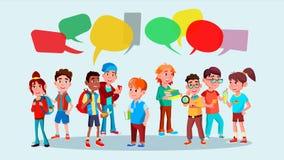 小组学生传染媒介 学校 混合种族 闲谈泡影 通信社交网络 组社交 平的动画片 库存例证