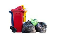小组容器和塑料垃圾 免版税库存图片