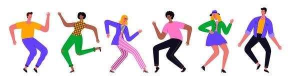 小组年轻愉快的跳舞的人民或男性和女性舞蹈家 o 向量例证