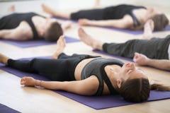 小组年轻运动的人民实践的瑜伽,做尸体 库存图片
