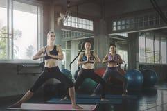 小组年轻运动的可爱的人民实践的瑜伽教训 库存照片