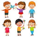 小组愉快的孩子动画片传染媒介 库存照片