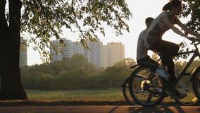 小组愉快的青年人乘坐的自行车一起,活跃休息在夏天公园 股票视频