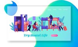小组旅舍室着陆页的年轻旅客 国际经济旅行概念网站或网页 旅馆内部 向量例证