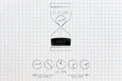 小组有太在初期时间和太晚说明的时钟和 向量例证
