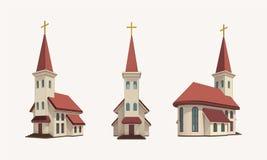 小组有金黄十字架的三个教会在顶面透视图 向量例证
