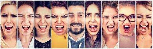 小组沮丧的被注重的恼怒的妇女和一愉快微笑刮胡须人 免版税库存照片