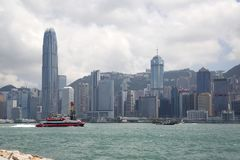 小组现代摩天大楼在城市香港中国 免版税库存图片