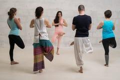 小组瑜伽训练被射击对墙壁 图库摄影
