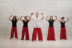 小组瑜伽训练被射击对砖墙 免版税库存图片