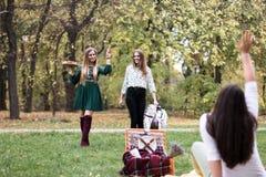 小组相当少妇有野餐在公园 图库摄影