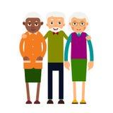 小组老人 黑白三年迈的人 年长m 库存例证