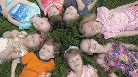 小组说谎在草的幼儿园孩子在公园和放松与微笑 股票录像