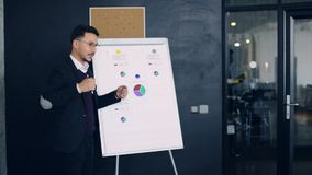 小组谈论在Flipchart在会议室在办公室 股票录像