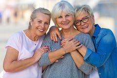 小组资深妇女微笑 库存图片