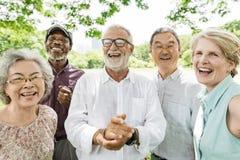 小组资深退休朋友幸福概念 免版税库存照片