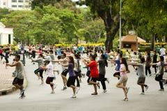 小组锻炼在曼谷 免版税图库摄影