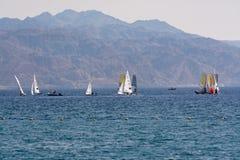小组风帆冲浪者是红海在埃拉特,以色列附近 免版税图库摄影